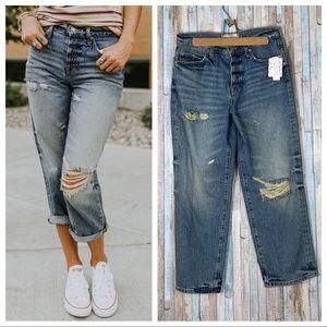 New Free People 27 Ripped Slouchy Boyfriend Jeans